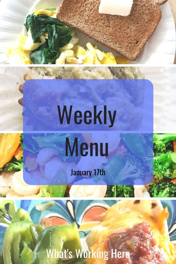 Weekly menu 1_17_21- spinach egg scramble, toast, apple banana muffin, shrimp stir fry, beef burrito, bell pepper