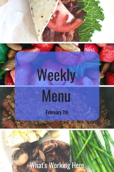 Weekly menu 2-7-21 - turkey blt wrap, strawberry spinach salad with almonds, chili, steak with mushrooms, baked potato, asparagus