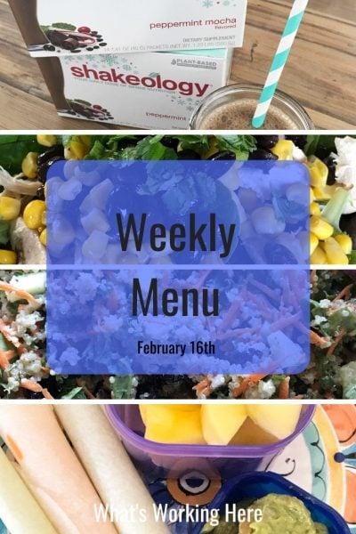 Weekly menu 2_16_20 - shakeology, southwest chicken salad, garden quinoa salad, jicama tacos, guacamole & mango- wheat & gluten free