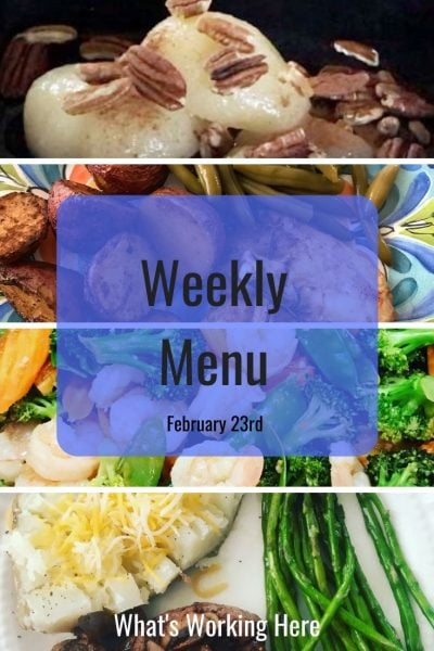 Weekly menu 2_23_20 - carb cycling for vacation