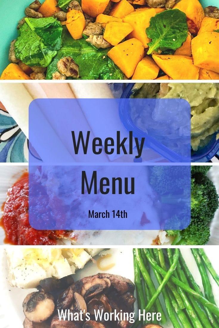 Weekly-menu-3_14_21- sweet potato breakfast scramble, jicama tacos, guacamole, chicken parmesan, orzo, broccoli, steak with mushrooms, baked potato, asparagus