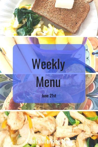 Weekly menu 6_21_20 - simple meals