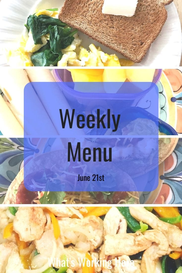 Weekly menu 6_21_20 - simple meals
