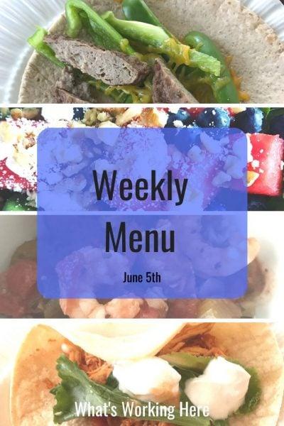 Weekly menu 7_5_20 - healthy slow cooker recipes- sausage & pepper breakfast wrap, watermelon salad, jambalaya, chicken tacos