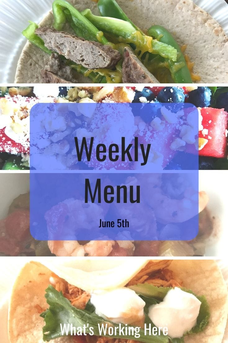 Weekly menu 7_5_20 - healthy slow cooker recipes- sausage & pepper breakfast wrap, watermelon salad, jambalaya, chicken tacos