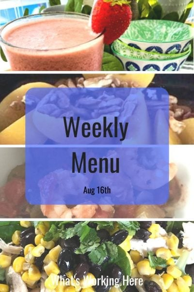 Weekly menu 8_16_20- tropical strawberry shakeology, apricots & pecans, Shrimp & Sausage gumbo, southwest chicken salad