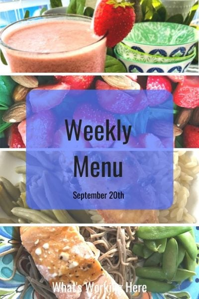 Weekly menu 9_20_20- Quick & Easy Meal Planning