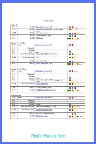 Weekly menu- Nov 1- portion fix meal plan template
