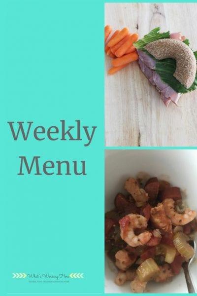 Weekly menu- November 10 bagel sandwich with carrots, shrimp & sausage gumbo (fixate)