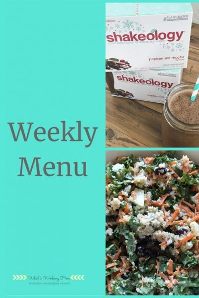 Weekly menu- November 17- Peppermint Mocha Shakeology and Garden Quinoa Salad from the Elimination Diet Meal Plan