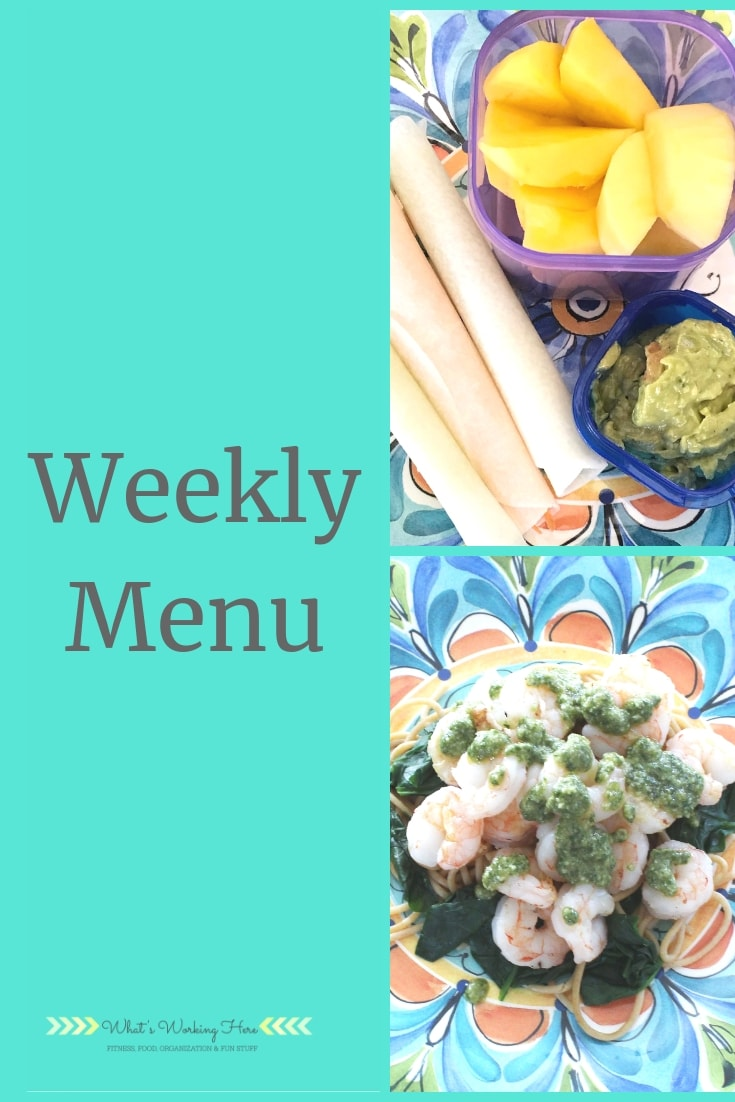 Weekly menu- garden harvest meals - jicama tacos, guacamole, mango, shrimp & spinach pesto pasta