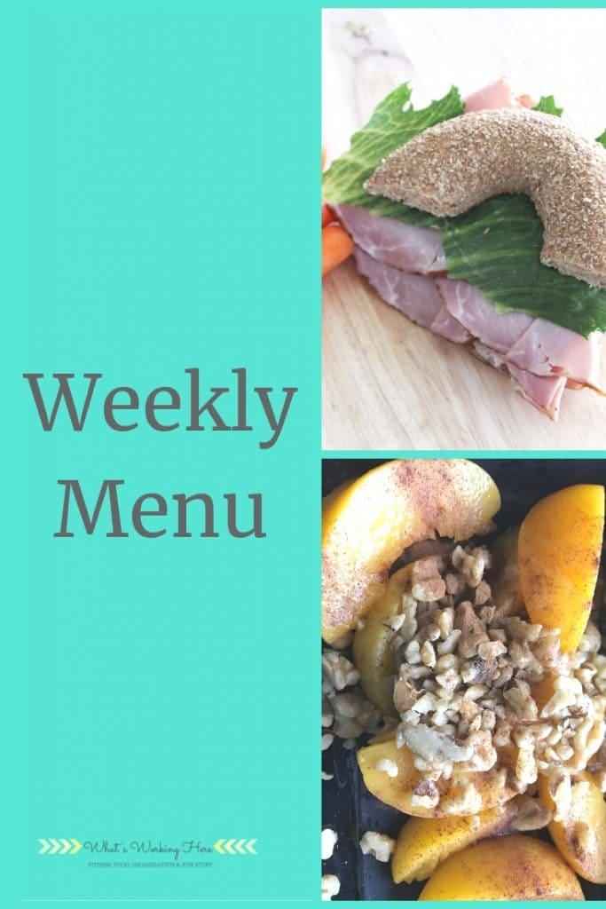 Weekly menu- sep 8 - bagel sandwich, peaches & pecans