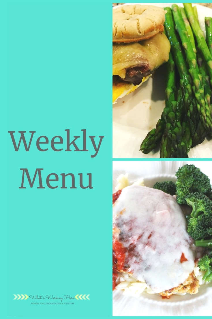 april 7 Weekly Menu - FIXATE Bunco Menu- sausage & egg sandwich and chicken parmesan with orzo and broccoli
