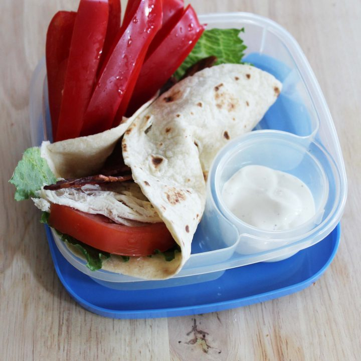 bacon chicken ranch wrap to go with red bell pepper slices