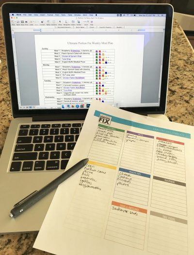 portion fix meal planning - food inventory