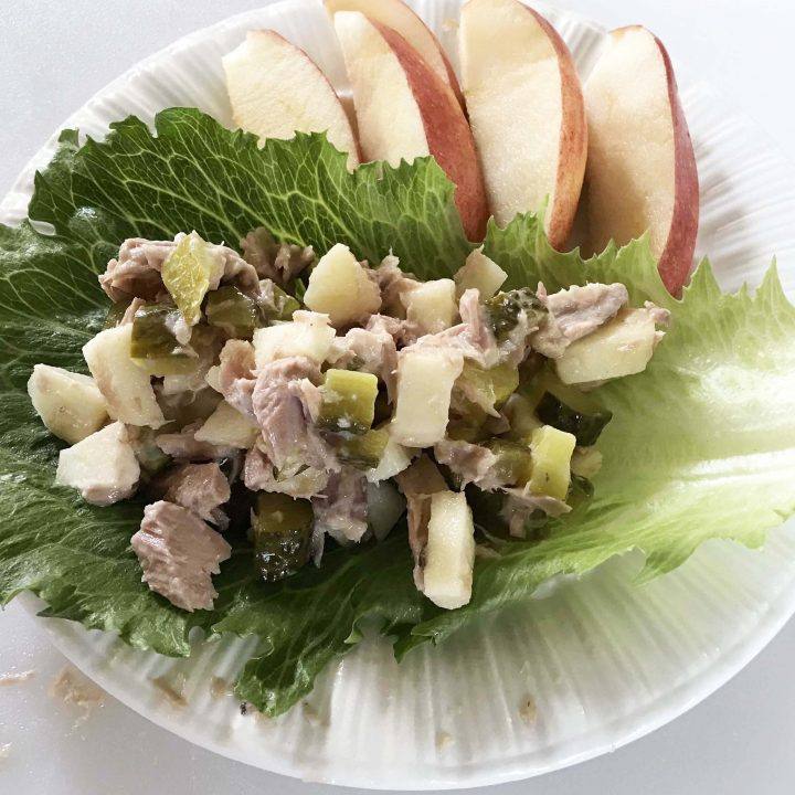 healthy tuna salad wrap made with lettuce - low carb option