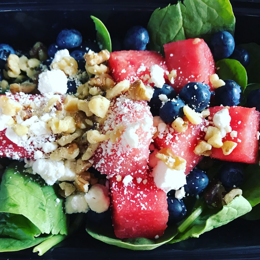 watermelon, blueberry, spinach salad